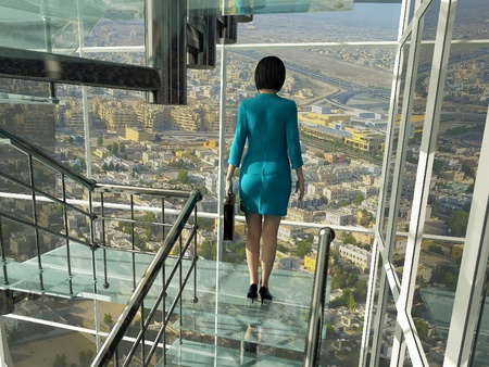 rise to the top: Business woman rises on the glass stairs against the background of the city.
