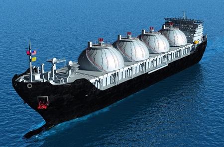 Der Tanker trägt Öl ins Meer.