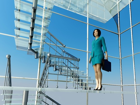 Business woman rises on the glass stairs. photo