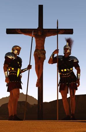 Der gekreuzigte Jesus und die Soldaten. Standard-Bild