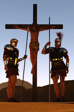 The crucified Jesus and the soldiers. Stock Photo