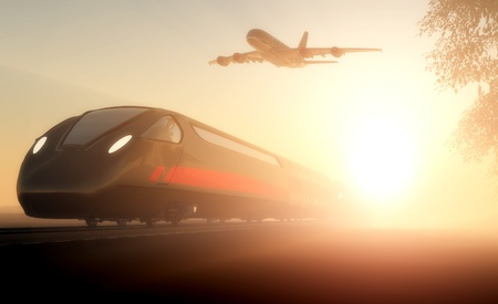 Passenger train and airplane in motion.