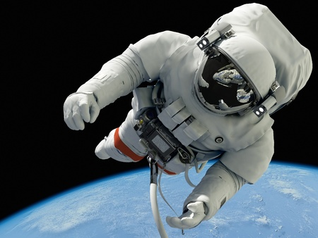 piloto: El astronauta sobre un fondo de un planeta Foto de archivo