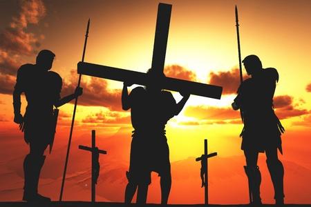 jesus cross: Silhouette of Jesus from the Cross