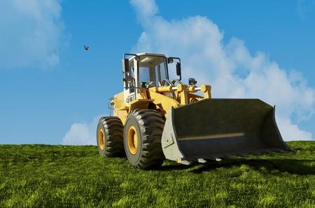 front loader: Excavadora de pie en el paisaje.