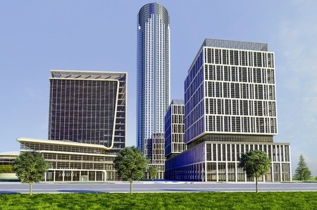large office: Buildings skyscrapers on a background of blue sky.