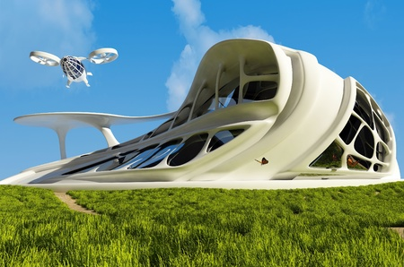 future: House of the Future  on the grass. Stock Photo
