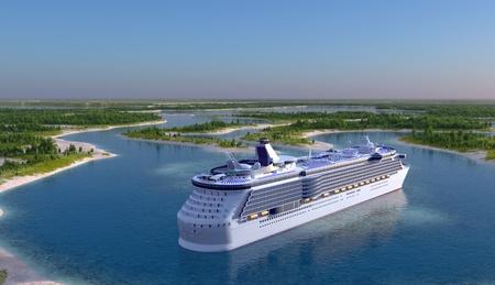 Passenger ship on the river.