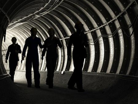 carbone: Silhouette di lavoratori in miniera