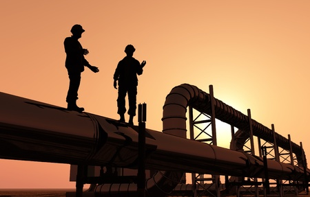 chemical industry: Silhouette of worker at the plant. Stock Photo
