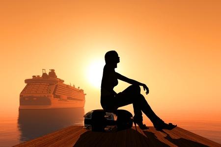The girl on the beach. photo