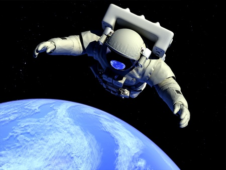 earth space: The astronaut  in outer space