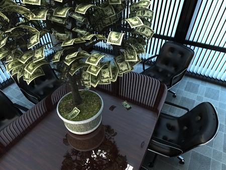 falling money: Money tree in the office.