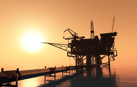 oil platforms: Oil production and the pipe in the sea.