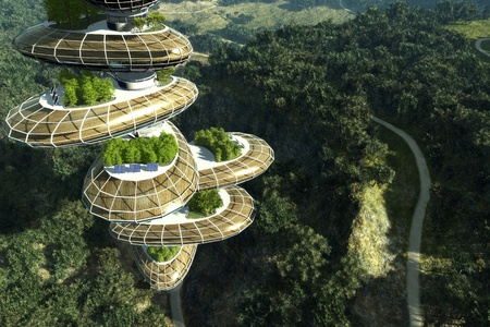 future city: City of the Future in the forest. Stock Photo