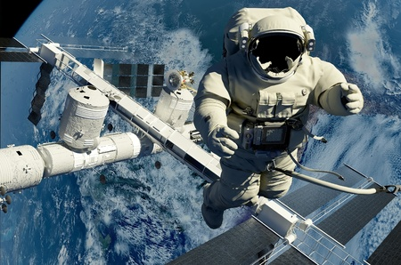 The astronaut on a background of a planet  Banque d'images