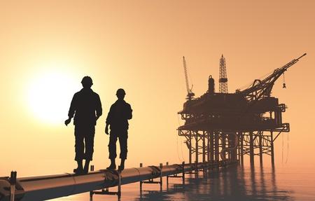 torre de perforacion petrolera: Siluetas de los trabajadores de la estación de metro de aceite.