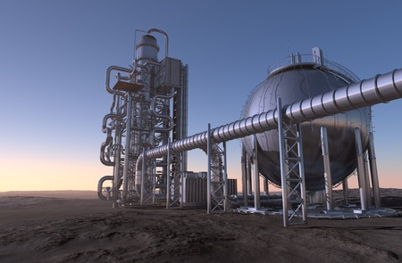 industrial products: Metal tanks and pipes of the plant in the desert.