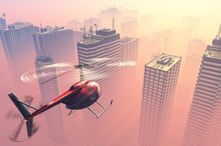 helicopter rescue: Civilian helicopter  on a background a city Stock Photo