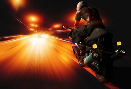 Motorcycle racing on the highway