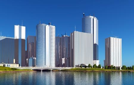 corporate building: City skyscraper on the coast of the river.