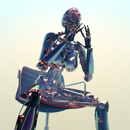 The figure of the robot  on a white background Stock Photo