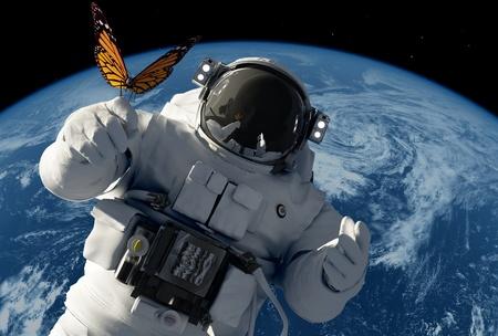 kosmos: Astronaut mit einem Schmetterling auf dem Hintergrund des Planeten.