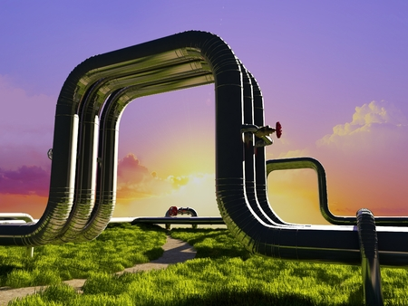 environmen: Metal pipes on the green grass.
