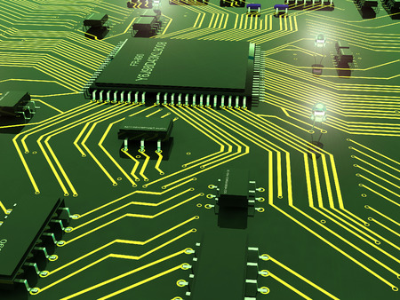 chipset: Electrical Power chips on the board. Stock Photo