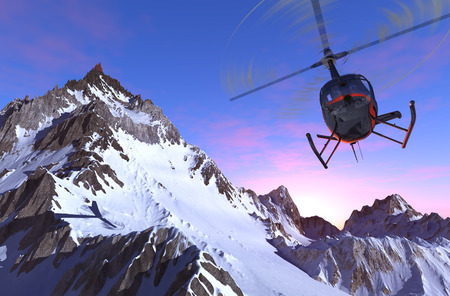helicopter: Civilian helicopter over the mountains.