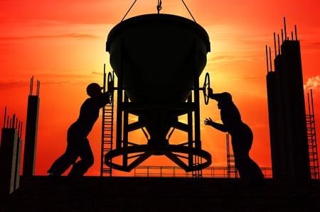 Silhouette of worker and construction photo