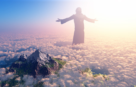 Jesus walking on clouds