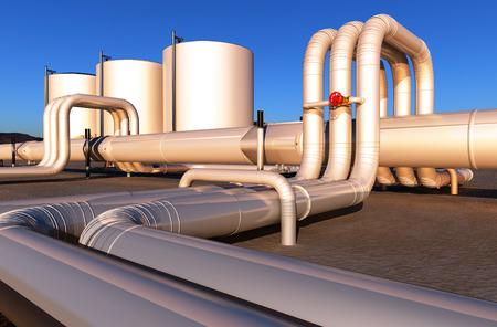 environmen: Tubes of factory in the desert.