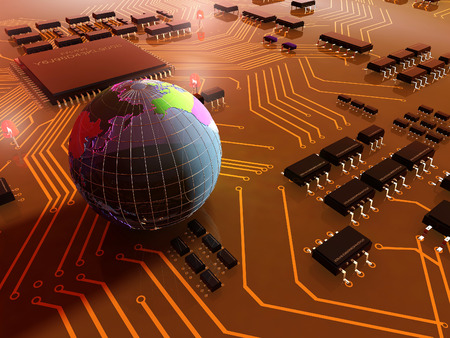 chipset: The model of the globe on a chip.