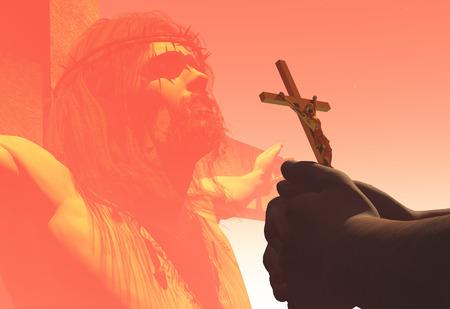 Crucifix in hand over Jesus.