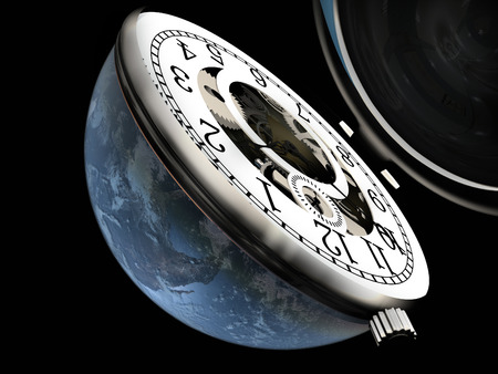 chronometer: The clock in the globe.Elemen ts of this image furnished by NASA