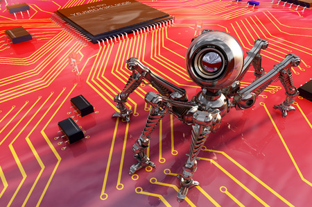 chipset: Robot webcam on the board of chips.