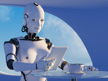 The  robot with tablet in hand.