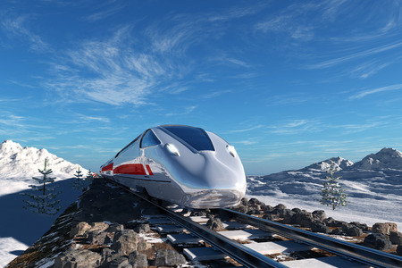 Modern train on the background of the snow landscape. photo