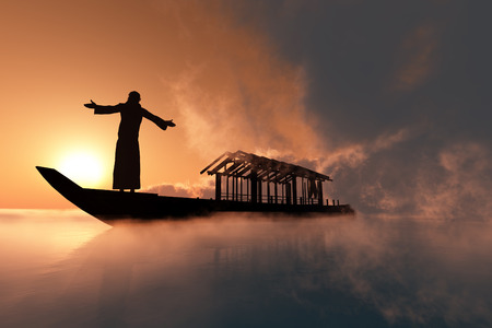 catholic church: A silhouette of a priest  in a boat