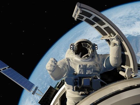 Astronaut goes through the hatch into space.Elemen ts of this image furnished by NASA photo