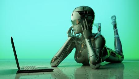 logica: El robot con un ordenador portátil en el piso. Foto de archivo