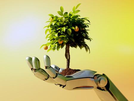 기계 팔에 나무입니다. 스톡 콘텐츠