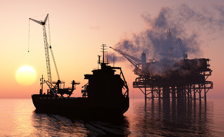 Silhouette tanker and plant for the extraction of oil. Stock Photo