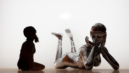 Silhouette of the girl and the robot on a white background. photo