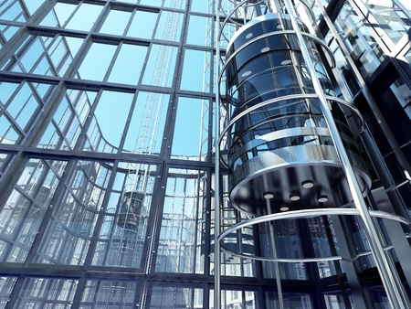 The interior of a modern building with an elevator. Banque d'images