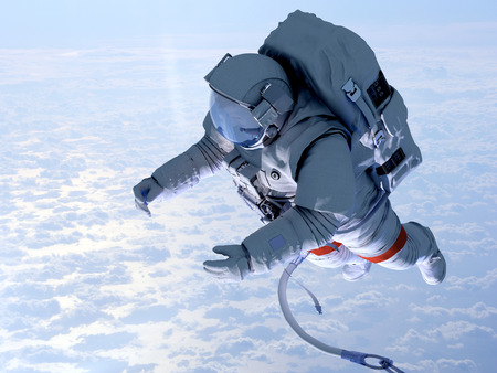 shuttle: Astronaut in space above the clouds of the Earth..