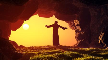 Człowiek modli się w jaskini.