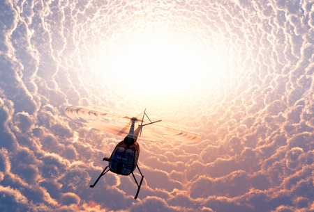 helicopter rescue: Civilian helicopter of mystical clouds. Stock Photo