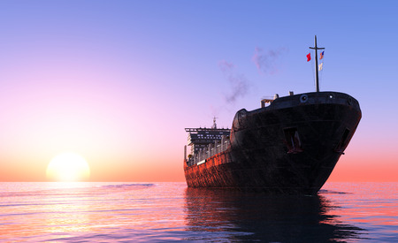 The  Tanker in the sea    photo